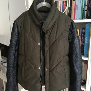BLANK NYC puffer jacket with faux leather sleeves